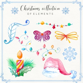 Akwarela christmas element collection