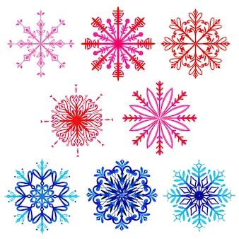 Akwarela christmas snowflakes collection