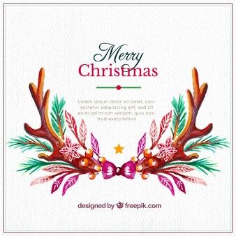 Akwarela christmas tle z szablonu