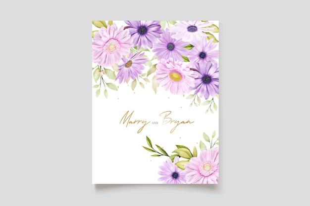 Akwarela chryzantema karta ślubna