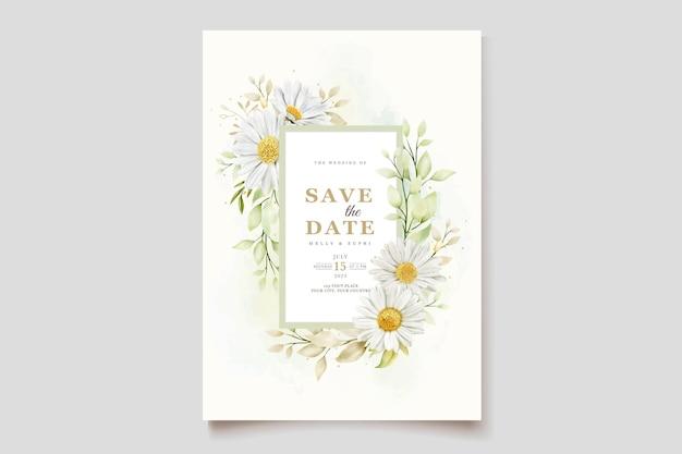 Akwarela chryzantema karta zaproszenie