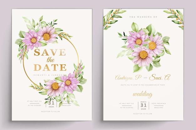 Akwarela chryzantema zaproszenia ślubne