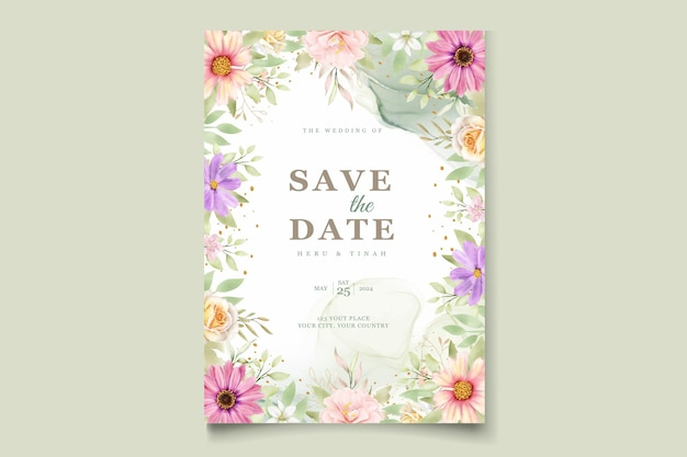 Akwarela chryzantema zaproszenie na ślub