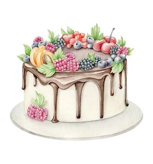 Akwarela ciasto owocowe