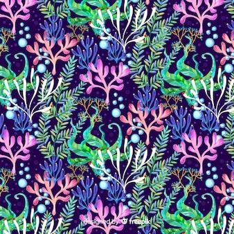 Akwarela ciemny koral tło