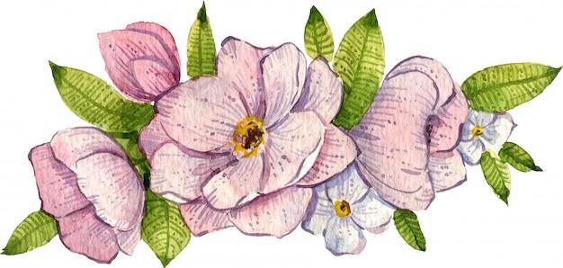 Akwarela clipart. ręcznie malowany bukiet kwiatowy. kwiaty róży i liście. kompozycja kwiatowa.