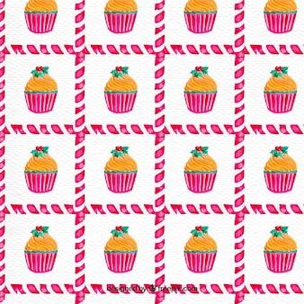 Akwarela cupcake wzór