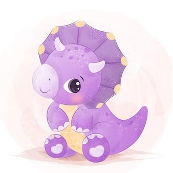 Akwarela cute baby dinozaura