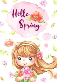 Akwarela cute girl gospodarstwa ilustracja kwiaty, laleczka, mała księżniczka