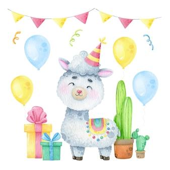 Akwarela cute lama alpaca pocztówka zaproszenie impreza tematyczna