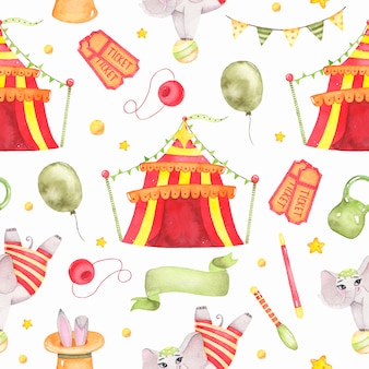 Akwarela cyrkowy zwierzęcy bezszwowy wzór z cyrkowym namiotem, słoń na piłce odizolowywającej