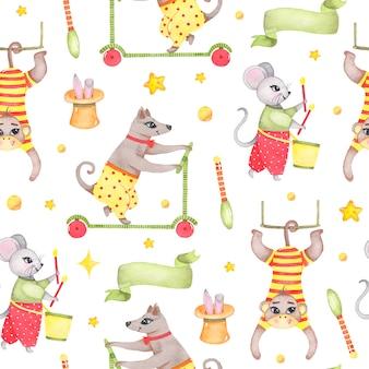 Akwarela cyrkowy zwierzęcy bezszwowy wzór z małpiego psa myszy królikiem w kapeluszu odizolowywającym