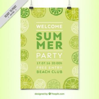 Akwarela cytryny summer party plakat