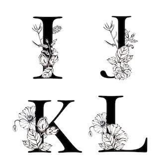 Akwarela czarno-biały kwiatowy alfabet litery ijkl