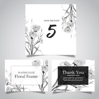 Akwarela czarno-biały kwiatowy rama i kolekcja kart