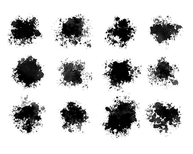 Akwarela czarny w grunge zestaw dwunastu wzorów