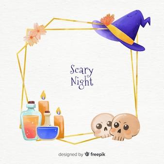 Akwarela czarownica i czaszki halloween ramki