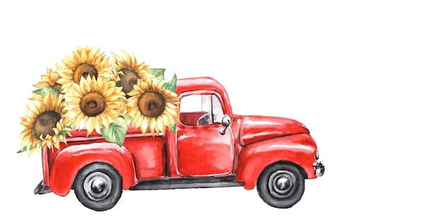 Akwarela czerwona ciężarówka z jesiennymi słonecznikami.