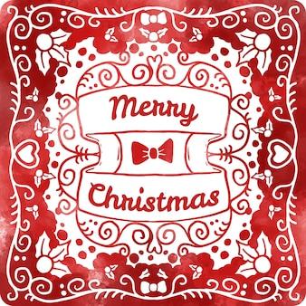Akwarela czerwona kartka świąteczna
