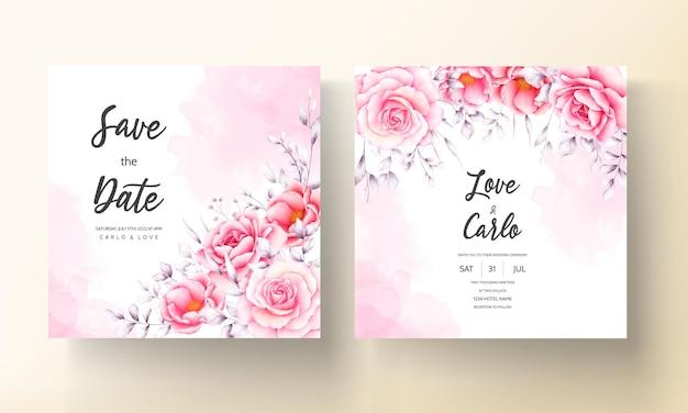 Akwarela czerwona róża karta zaproszenie na ślub