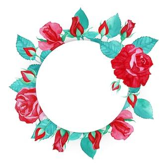 Akwarela czerwona róża rama wielofunkcyjny tło
