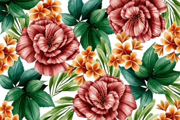 Akwarela czerwone kwiaty w tle
