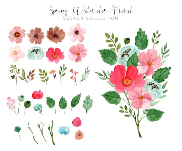 Akwarela czerwony bukiet kwiatów na wiosnę