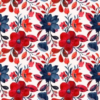 Akwarela czerwony kwiatowy wzór