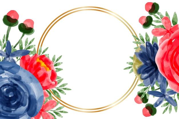Akwarela czerwony niebieski kwiat ramki tła