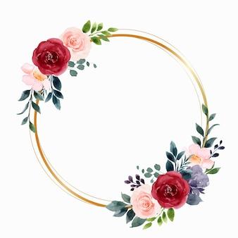 Akwarela czerwony różowy wieniec z kwiatów róży ze złotym kółkiem