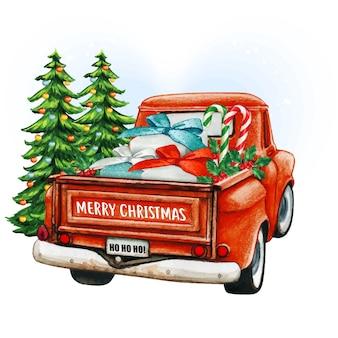Akwarela czerwony świąteczny samochód ciężarowy z drzewami i prezentami