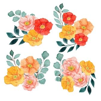 Akwarela czerwony żółty i różowy maki układ kwiatowy