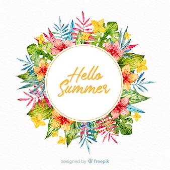 Akwarela cześć lato tło