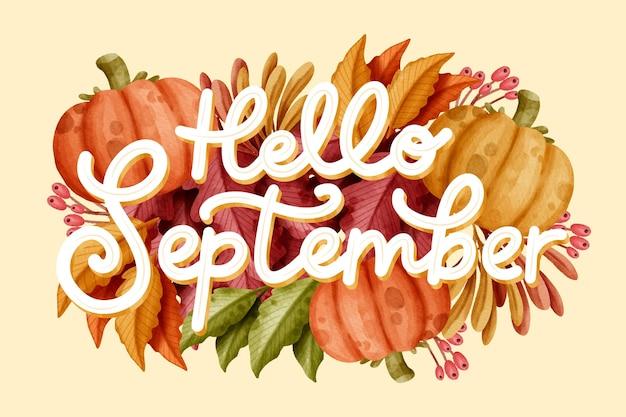 Akwarela cześć września napis