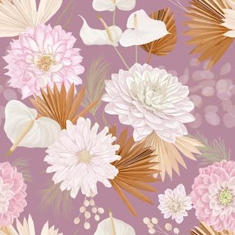 Akwarela dalia kwiat, liście palmowe, trawa pampasowa, księżyc bezszwowe tło wektor. wzór suszonych kwiatów dżungli. tropikalny projekt boho na ślub, nadruk na tkaninie, tekstura tapety, tło