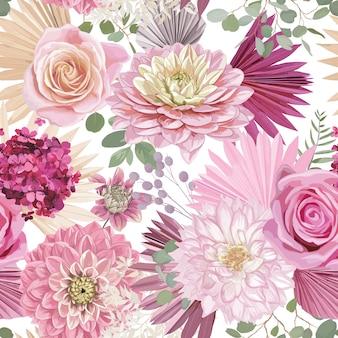 Akwarela dalia, kwiat róży, liście palmowe, trawa pampasowa bezszwowe tło wektor. hawajski wzór suszonych kwiatów. tropikalny projekt boho na ślub, nadruk na tkaninie, tekstura tapety, tło