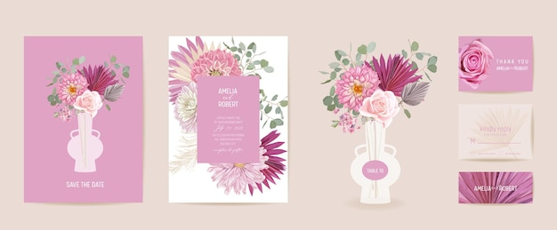 Akwarela dalia, trawa pampasowa, różowa karta ślubna kwiatowy. wektor egzotyczny kwiat, tropikalna palma pozostawia zaproszenie. rama szablon boho. botanical save the date okładka z liści, nowoczesny plakat
