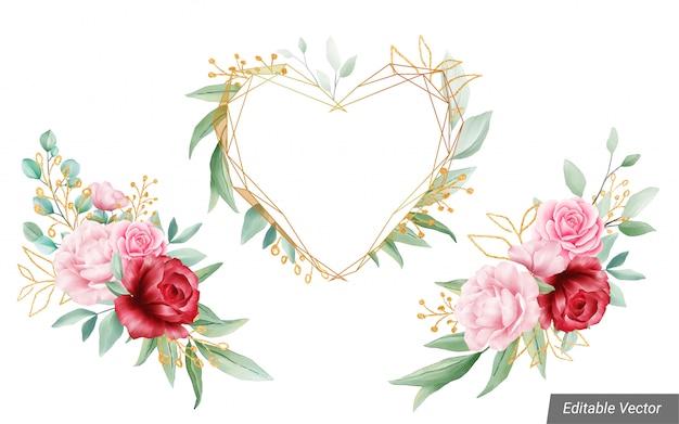 Akwarela dekoracje kwiatowe z geometryczną ramą na ślub lub kartkę z życzeniami