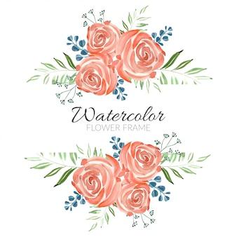 Akwarela dekoracji róży kwiatowy rama