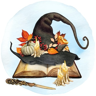Akwarela dekoracyjny kapelusz wiedźmy z dekoracją z jesiennych liści