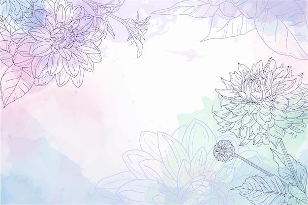 Akwarela delikatne tło z grawerowanymi kwiatami