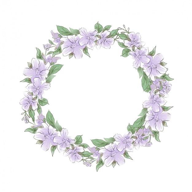 Akwarela delikatny wieniec kwiatów bzu