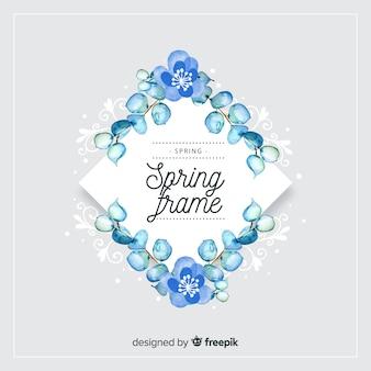 Akwarela diamentowa wiosna kwiatowy rama