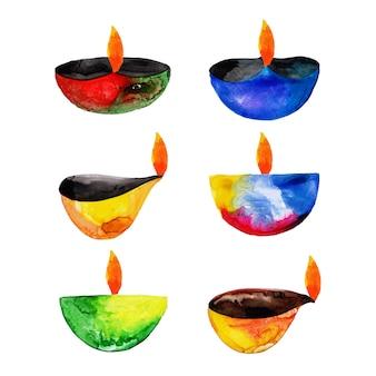 Akwarela diwali elements collection