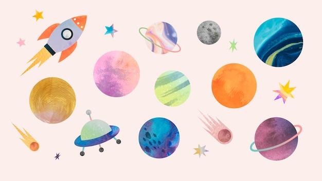 Akwarela doodle kolorowe galaktyki na pastelowym tle