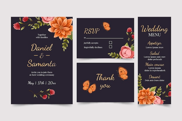 Akwarela dramatyczny botaniczny papeterii ślubnej