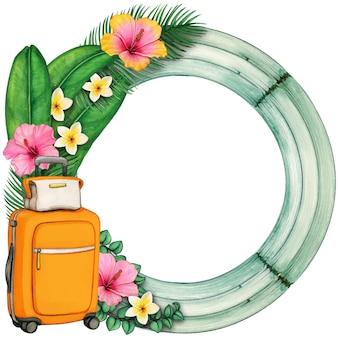 Akwarela drewniana okrągła rama z tropikalnymi kwiatami i walizką