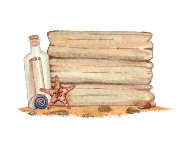 Akwarela drewniany talerz z muszlą i butelką