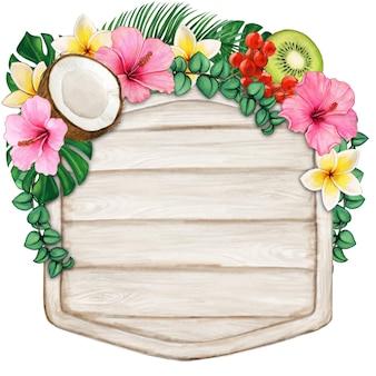Akwarela drewno z tropikalnymi kwiatami i owocami