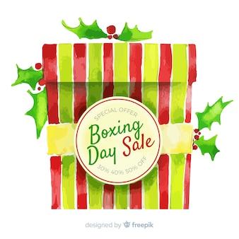 Akwarela drugiego dnia świąt bożego narodzenia sprzedaż tło